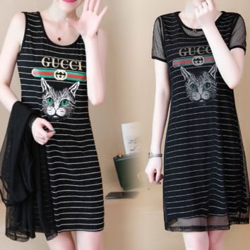 GUCCI New fashion women summer bust letter cat print short sleeve stripe mesh two piece dress Black