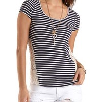 Navy Combo Crochet Side Striped Tee by Charlotte Russe