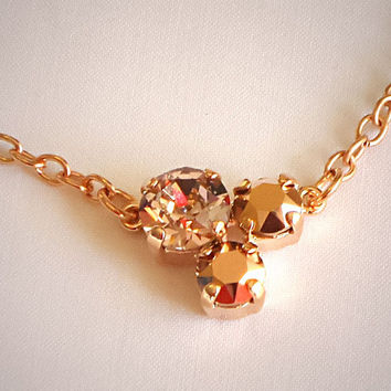Delicate Swarovski crystal vintage rose and rose gold three -stone pendant necklace ,rose gold plated setting