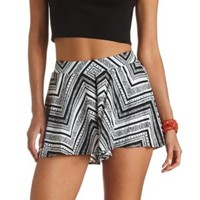 Flowy Tribal Print High-Waisted Shorts - Black/Ivory