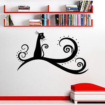 Wall Decals Cat Animal Tree Decal Nursery Bedroom Vinyl Sticker Home Decor DA232