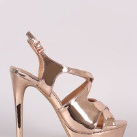 Qupid Mirror Metallic Crisscross Platform Heel