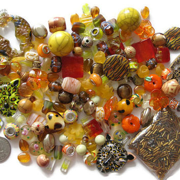 Over 180 Pcs. Assorted Orange Golden Yellow Beads Pendants Charms Lampwork Glass Acrylic Shell Jewelry Making Crafts Bugle Cat Tiger Stripe
