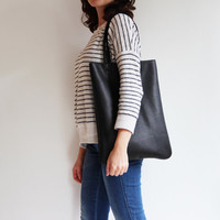 Black Leather Tote, Leather Bag, Shopper Bag, Everyday Bag