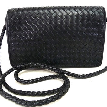 Vintage Purse Black Woven Leather Classic Nordstrom Braided Convertible Handbag Crossbody Messenger Bag