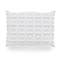 "KESS Original ""Palace Ceiling Tiles"" White Abstract Oblong Pillow"