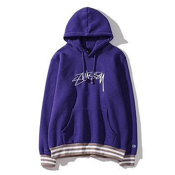 Stussy street fashion brand men and women wear wild fashion loose hooded sweater Purple