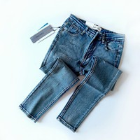 """""""Calvin Klein Jeans"""" Women All-match Fashion Distressed Tight Jeans Trousers Slim-fit Pants"""