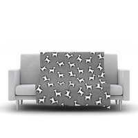 "Monika Strigel ""Llama Multi"" Gray Fleece Throw Blanket"