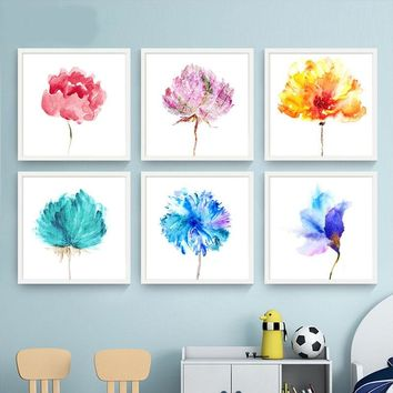 Modern Home Decorative Canvas Painting Abstract Watercolor Flower Pictures For Living Room Wall Art Nordic Posters No Frame