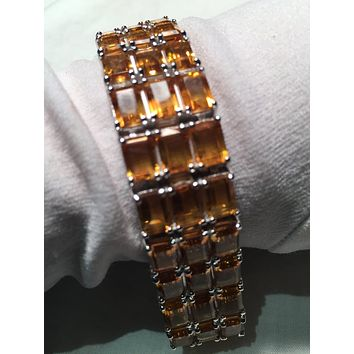 Vintage Handmade mosaic of Golden Citrine Rhodium Finished Sterling Silver Statement Bracelet