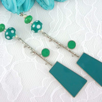 Green polka Dot Lampwork Glass Earrings, Green & teal silver earrings, Dangle Earrings, geometric Earrings