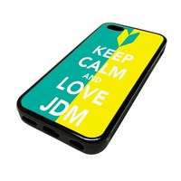 Apple iPhone 5 or 5S Case Cover Skin Keep Calm And Love JDM Green Yellow DESIGN BLACK RUBBER SILICONE Teen Gift Vintage Hipster Fashion Design Art Print Cell Phone Accessories