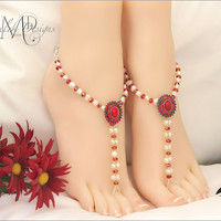 White Freshwater Pearl Red Crystal Barefoot Sandals