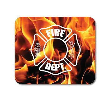 """DistinctInk Custom Foam Rubber Mouse Pad - 1/4"""" Thick - Flames Fire Department"""