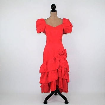80s Red Party Dress Taffeta Prom Dress Ruffle Bow Big Puff Sleeves 1980s Prom Dress Long Red Dress Medium Large Womens Vintage Clothing