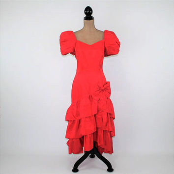 27b2c2d8d1 80s Red Party Dress Taffeta Prom Dress Ruffle Bow Big Puff Sleev