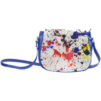 Blue & Red Paint Splatter Classic Saddle Bag/Small (Model 1648) | ID: D276506