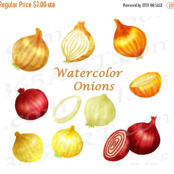 50% OFF SALE Watercolor Onions Clipart, Onions Clip Art, Elements, Red Onions, Vegetable Paintings, Onion Artwork, Hand Painted, Commercial