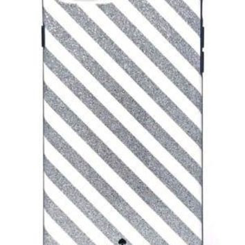 Kate Spade New York Diagonal Stripe Protective Rubber Case For iPhone 7 Plus & iPhone 6 Plus - Silver Glitter/Cream/Navy