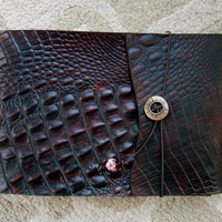 Refillable Alligator Embossed Leather Sketchbook - Dark Chocolate, Journal, Notebook, Note Pad, Drawing Pad
