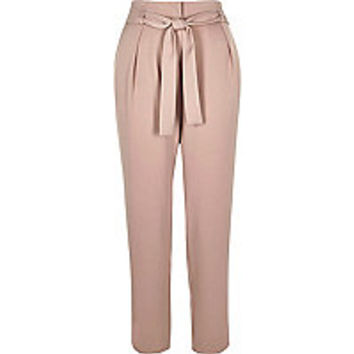 Pink soft tie tapered trousers