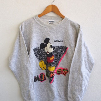 BIG SALE 25% MICKEY Mouse California Usa Vintage 90's Punk Cartoon Walt Disney Streetwear Sweater Crewneck Pullover Sweatshirt Size M