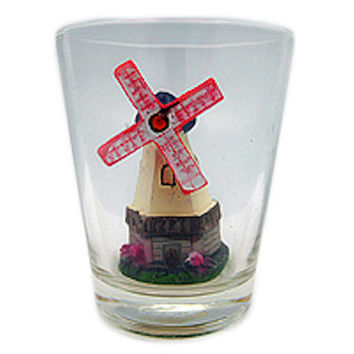 Souvenir Shot Glass: 3 D Windmill & Flowers