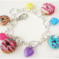 Kawaii Donut Charm Bracelet with Hearts in Silver by ykonna