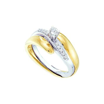 10kt Yellow Two-tone Gold Womens Round Diamond Bridal Wedding Engagement Ring Band Set 1/4 Cttw