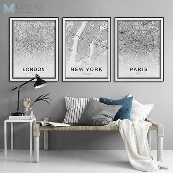 World Famous City Map London Paris New York Posters Prints Nordic Style Living Room Wall Art Pictures Home Decor Canvas Painting