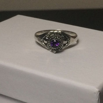 Amethyst Poison Ring/Pillbox Ring - size 9