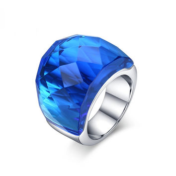 big crystal stone ring - stainless steel anillos