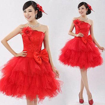 2017 New Arrival Fashion Lady Ball Gown Prom Dress Short with Bow Sequined Red Puff Sleeveless Women Formal Prom Dress