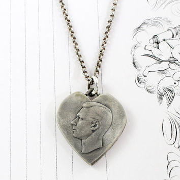 Trench Art Heart Pendant, WWII Solid Sterling Silver Australian Coin Love Token, Military Sweetheart Friendship Jewelry Charm Necklace