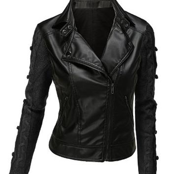 Doublju Contrast Sweater Sleeve Faux Leather Moto Jacket BLACK (US-L)
