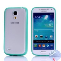 Arbalest® Galaxy S4 Mini Case, [Hybrid Bumper] TPU Hybrid Transparent Matte Back Cover with Sleek Solid Border Protective Case for Samsung S4 Mini GT-9192/9195- Turquoise, Gifts 1X Screen Protector