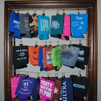 Koozie Frame: Each color frame can hold 21 koozies!  Hang your favorite koozies to get them out of the way. You will love it!