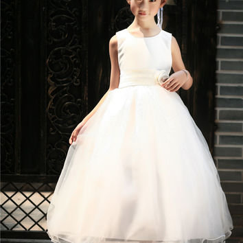 Flower girl dresses for weddings Sleeveless Tutu Elegant trailing gown girl dresses for wedding Evening Party Free Shipping