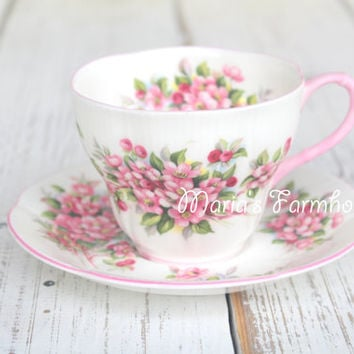 Vintage, English Bone China, Royal Albert,Blossom Time Series, Apple Blossom, Tea Cup and Saucer Tea Party - c. 1966 - 1970's