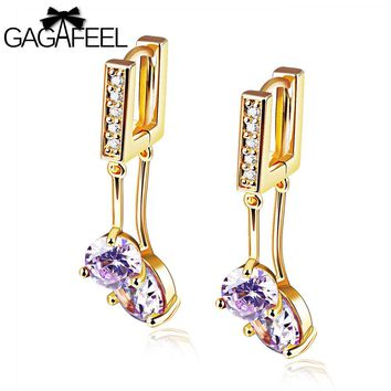 GAGAFEEL Women Jewelry Earrings Long Drop Earrings Simple Cooper Gold Color Purple
