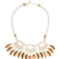 White Circle Leaf Rope Neckace