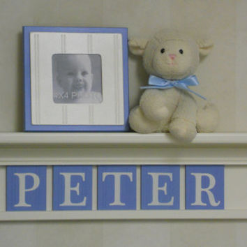 "Baby Boy Nursery Wall Shelves -  24"" Linen White Shelf and 5 Pastel Blue Letter Blocks - Personalized for PETER"