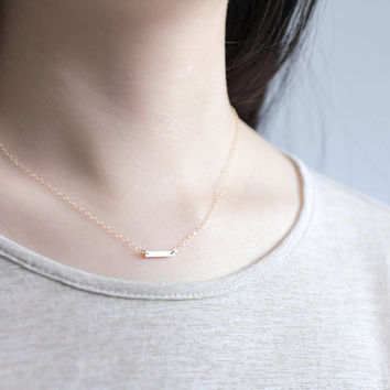 Dash in gold - petite gold filled bar necklace - small golden line - everyday jewelry by AmiesAmies