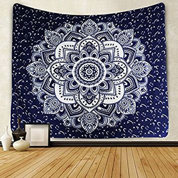 Icejazz Mandala Tapestry Wall Hanging Dark Blue & White Wall Art Floral Decorative for Bedroom Living Room 51x59 Inches