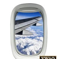 Airplane Window Wing Decal Clouds Sky Wall Art Peel and Stick Decor A03