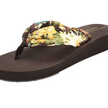 ANBOVER Womens Floral Summer Slippers Satin Wedge Flip Flops Bohemia
