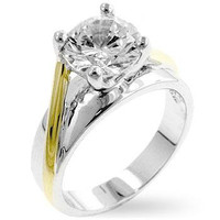 Two-tone Finish Solitaire Engagement Ring, size : 10
