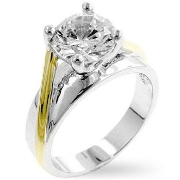Two-tone Finish Solitaire Engagement Ring, size : 06
