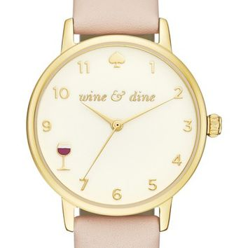 kate spade new york metro wine & dine leather strap watch, 34mm | Nordstrom